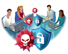 Cyber security professionals fighting against threats